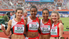 Amsterdam, 10.7.2016, Leichtathletik EM, 4x100m Final, Ellen Sprunger, Sarah Atcho, Salome Kora, Ajla  Del Ponte (SUI). (Daniel Mitchell/EQ Images)